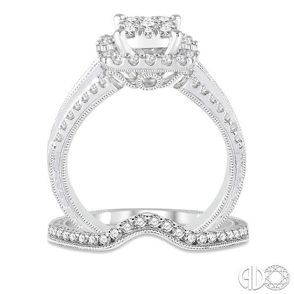 1 1/6 Ctw Diamond Lovebright Square Shape Wedding Set with 1 Ctw Engagement Ring and 1/5 Ctw Wedding Band in 14K White Gold Image 3 Becker's Jewelers Burlington, IA