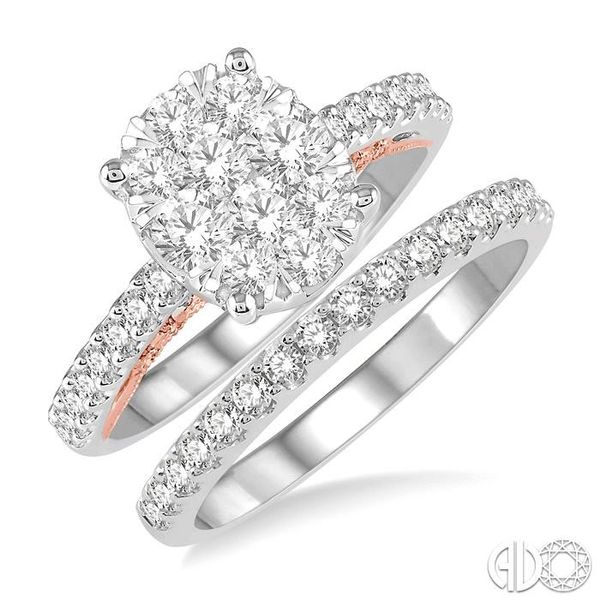 1 1/3 ctw Lovebright Diamond Wedding Set With 1 1/20 ctw Oval Shape Engagement Ring in 14K White and Rose Gold and 1/3 ctw Weddi Becker's Jewelers Burlington, IA