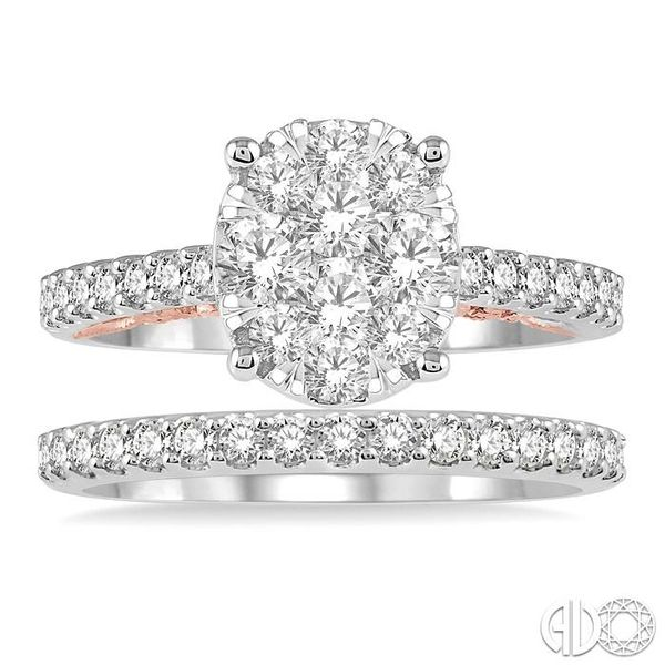 1 1/3 ctw Lovebright Diamond Wedding Set With 1 1/20 ctw Oval Shape Engagement Ring in 14K White and Rose Gold and 1/3 ctw Weddi Image 2 Becker's Jewelers Burlington, IA
