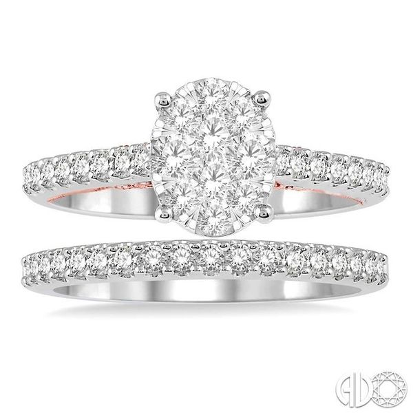 1 ctw Lovebright Diamond Wedding Set With 3/4 ctw Oval Shape Engagement Ring in 14K White and Rose Gold and 1/4 ctw Wedding Band Image 2 Becker's Jewelers Burlington, IA
