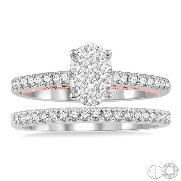 1/2 ctw Lovebright Diamond Wedding Set With 1/3 ctw Oval Shape Engagement Ring in 14K White and Rose Gold and 1/6 ctw Wedding Ba Image 2 Becker's Jewelers Burlington, IA