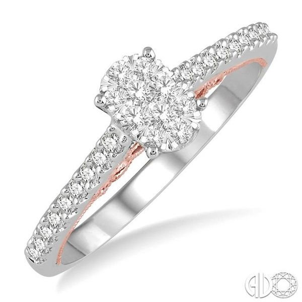 1/3 Ctw Oval Shape Lovebright Round Cut Diamond Ring in 14K White and Rose Gold Becker's Jewelers Burlington, IA