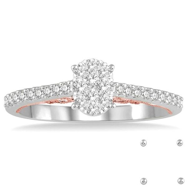 1/3 Ctw Oval Shape Lovebright Round Cut Diamond Ring in 14K White and Rose Gold Image 2 Becker's Jewelers Burlington, IA