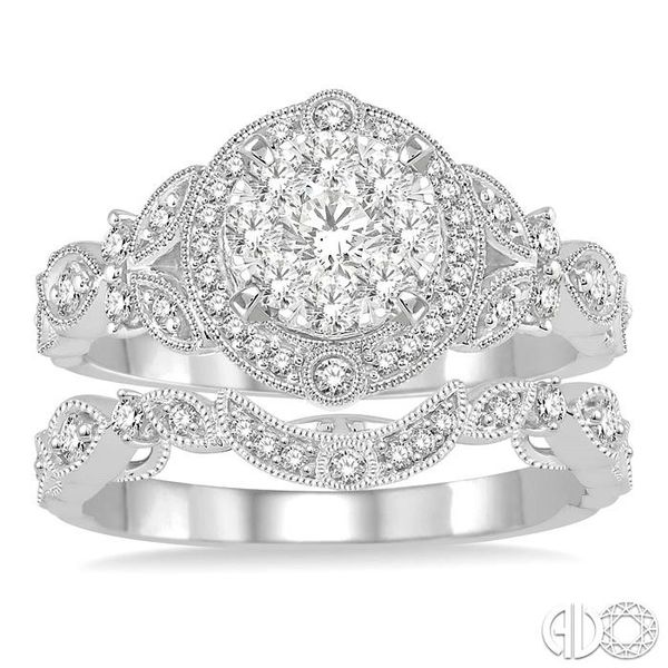 3/4 Ctw Diamond Lovebright Wedding Set with 5/8 Ctw Engagement Ring and 1/6 Ctw Wedding Band in 14K White Gold Image 2 Becker's Jewelers Burlington, IA