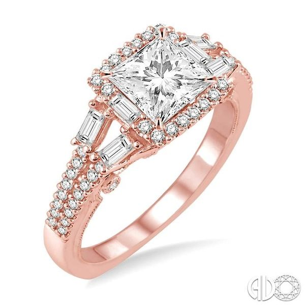 1 1/6 Ctw Diamond Engagement Ring with 5/8 Ct Princess Cut Center Stone in 14K Rose Gold Becker's Jewelers Burlington, IA