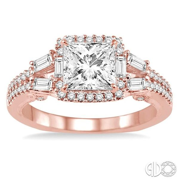 1 1/6 Ctw Diamond Engagement Ring with 5/8 Ct Princess Cut Center Stone in 14K Rose Gold Image 2 Becker's Jewelers Burlington, IA