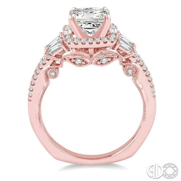 1 1/6 Ctw Diamond Engagement Ring with 5/8 Ct Princess Cut Center Stone in 14K Rose Gold Image 3 Becker's Jewelers Burlington, IA