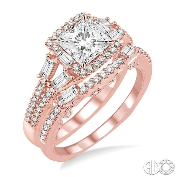 1 3/8 Ctw Diamond Wedding Set with 1 1/6 Ctw Princess Cut Engagement Ring and 1/4 Ctw Wedding Band in 14K Rose Gold Becker's Jewelers Burlington, IA