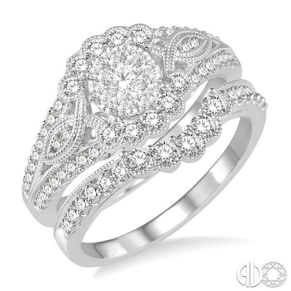 1 1/10 Ctw Diamond Lovebright Wedding Set with 3/4 Ctw Engagement Ring and 1/3 Ctw Wedding Band in 14K White Gold Becker's Jewelers Burlington, IA