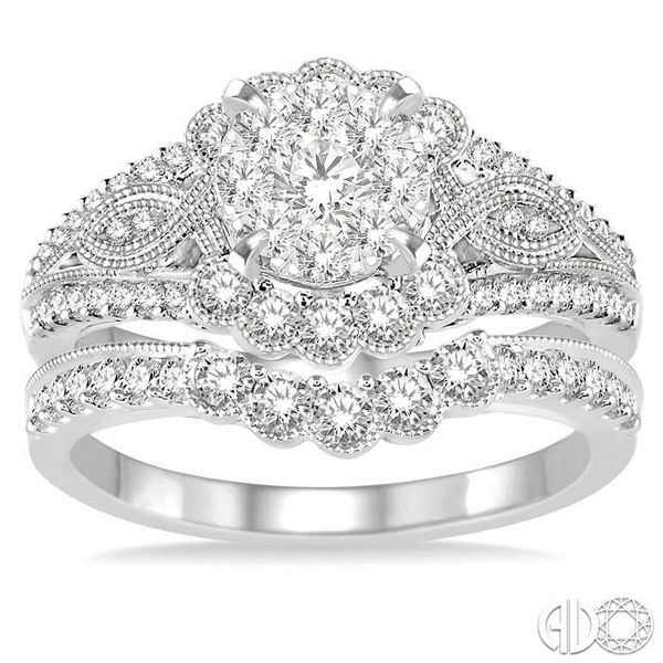 1 1/10 Ctw Diamond Lovebright Wedding Set with 3/4 Ctw Engagement Ring and 1/3 Ctw Wedding Band in 14K White Gold Image 2 Becker's Jewelers Burlington, IA