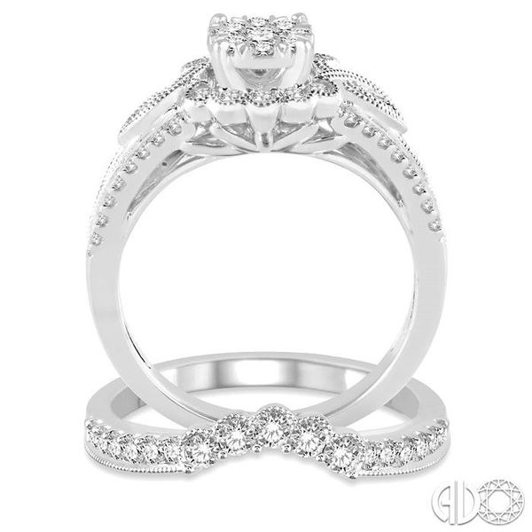 1 1/10 Ctw Diamond Lovebright Wedding Set with 3/4 Ctw Engagement Ring and 1/3 Ctw Wedding Band in 14K White Gold Image 3 Becker's Jewelers Burlington, IA