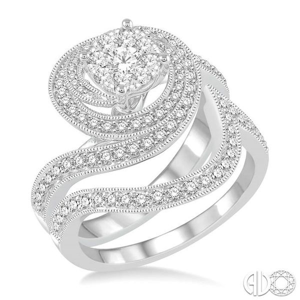 1 Ctw Round Cut Diamond Lovebright Bridal Set with 3/4 Ctw Engagement Ring and 1/4 Ctw Wedding Band in 14K White Gold Becker's Jewelers Burlington, IA