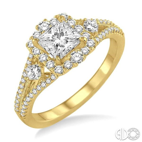 7/8 Ctw Diamond Engagement Ring with 1/3 Ct Princess Cut Center Stone in 14K Yellow Gold Becker's Jewelers Burlington, IA