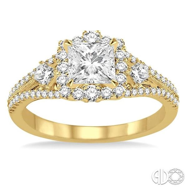 7/8 Ctw Diamond Engagement Ring with 1/3 Ct Princess Cut Center Stone in 14K Yellow Gold Image 2 Becker's Jewelers Burlington, IA