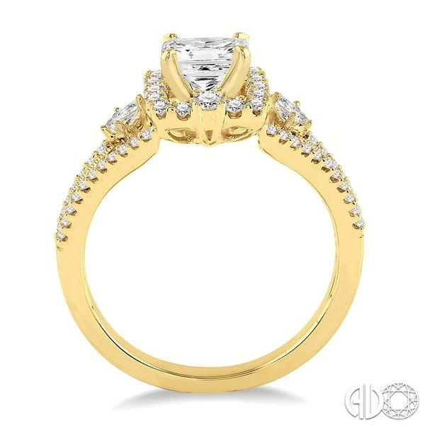 7/8 Ctw Diamond Engagement Ring with 1/3 Ct Princess Cut Center Stone in 14K Yellow Gold Image 3 Becker's Jewelers Burlington, IA