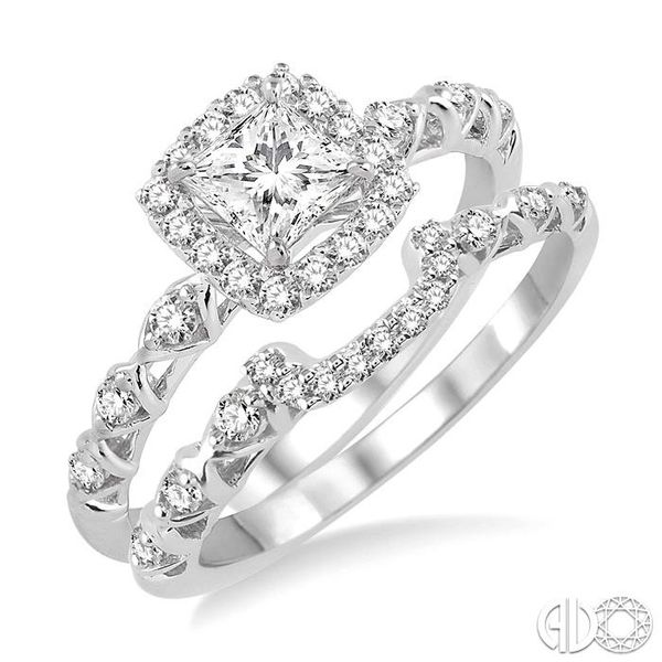5/8 Ctw Diamond Wedding Set with 1/2 Ctw Princess Cut Engagement Ring and 1/6 Ctw Wedding Band in 14K White Gold Becker's Jewelers Burlington, IA