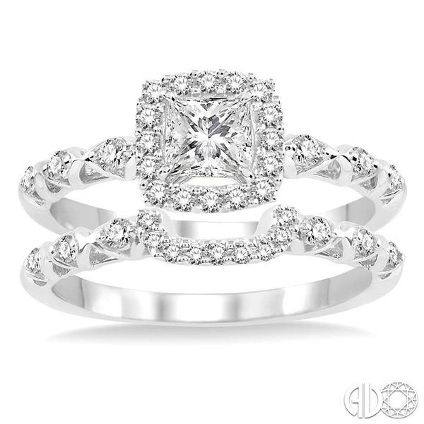 5/8 Ctw Diamond Wedding Set with 1/2 Ctw Princess Cut Engagement Ring and 1/6 Ctw Wedding Band in 14K White Gold Image 2 Becker's Jewelers Burlington, IA