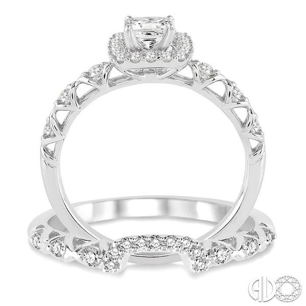 5/8 Ctw Diamond Wedding Set with 1/2 Ctw Princess Cut Engagement Ring and 1/6 Ctw Wedding Band in 14K White Gold Image 3 Becker's Jewelers Burlington, IA