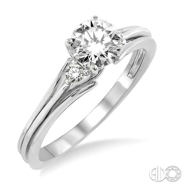 1/3 Ctw Diamond Engagement Ring with 1/3 Ct Round Cut Center Stone in 14K White Gold Becker's Jewelers Burlington, IA