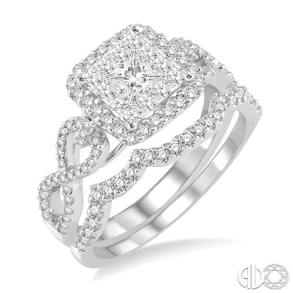 7/8 Ctw Diamond Lovebright Square Shape Wedding Set with 3/4 Ctw Engagement Ring and 1/5 Ctw Wedding Band in 14K White Gold Becker's Jewelers Burlington, IA
