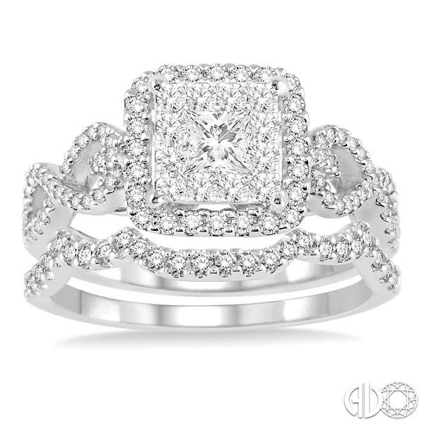 7/8 Ctw Diamond Lovebright Square Shape Wedding Set with 3/4 Ctw Engagement Ring and 1/5 Ctw Wedding Band in 14K White Gold Image 2 Becker's Jewelers Burlington, IA