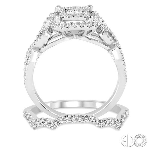 7/8 Ctw Diamond Lovebright Square Shape Wedding Set with 3/4 Ctw Engagement Ring and 1/5 Ctw Wedding Band in 14K White Gold Image 3 Becker's Jewelers Burlington, IA