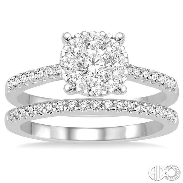 1 Ctw Round Cut Diamond Lovebright Bridal Set with 3/4 Ctw Engagement Ring and 1/4 Ctw Wedding Band in 14K White Gold Image 2 Becker's Jewelers Burlington, IA