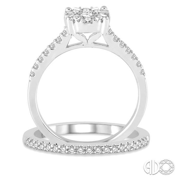 1 Ctw Round Cut Diamond Lovebright Bridal Set with 3/4 Ctw Engagement Ring and 1/4 Ctw Wedding Band in 14K White Gold Image 3 Becker's Jewelers Burlington, IA