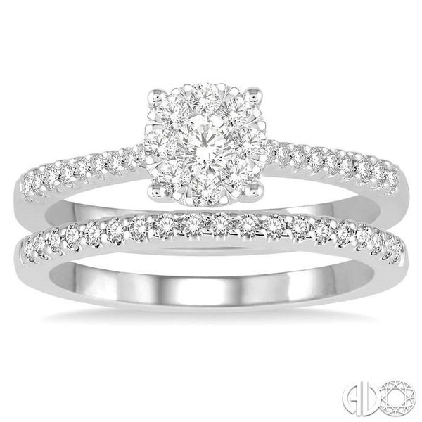 1/2 Ctw Round Cut Diamond Lovebright Bridal Set with 3/8 Ctw Engagement Ring and 1/6 Ctw Wedding Band in 14K White Gold Image 2 Becker's Jewelers Burlington, IA