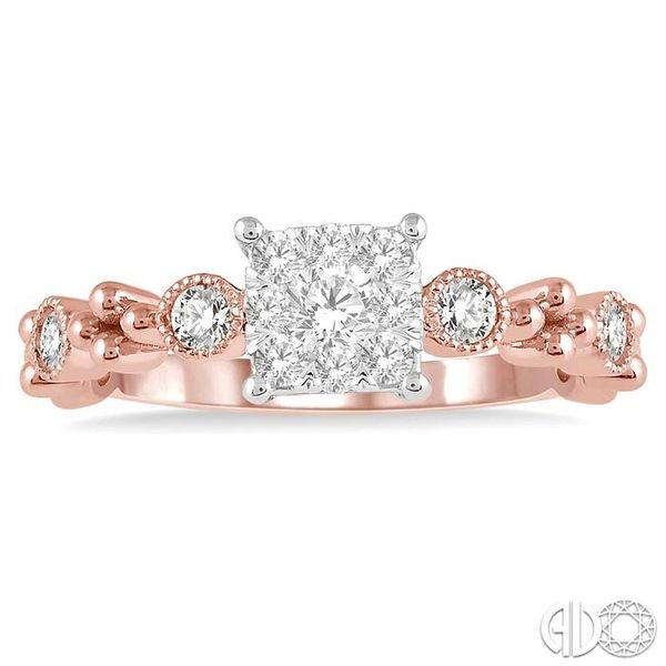 3/8 ct Princess Cut Shape Accentuated Shank Lovebright Diamond Cluster Ring in 14K Rose and White Gold Image 2 Becker's Jewelers Burlington, IA