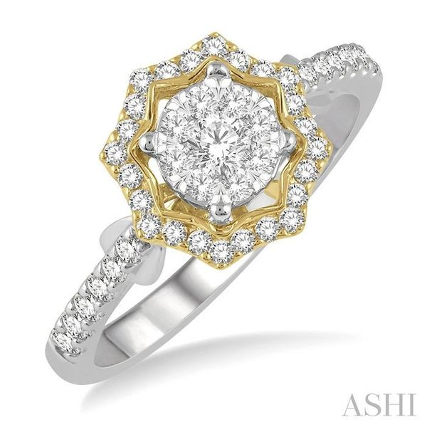 1/2 ctw Star Shape Lovebright Round Cut Diamond Ring in 14K White and Yellow Gold Becker's Jewelers Burlington, IA