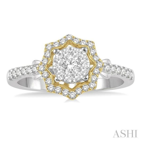 1/2 ctw Star Shape Lovebright Round Cut Diamond Ring in 14K White and Yellow Gold Image 2 Becker's Jewelers Burlington, IA