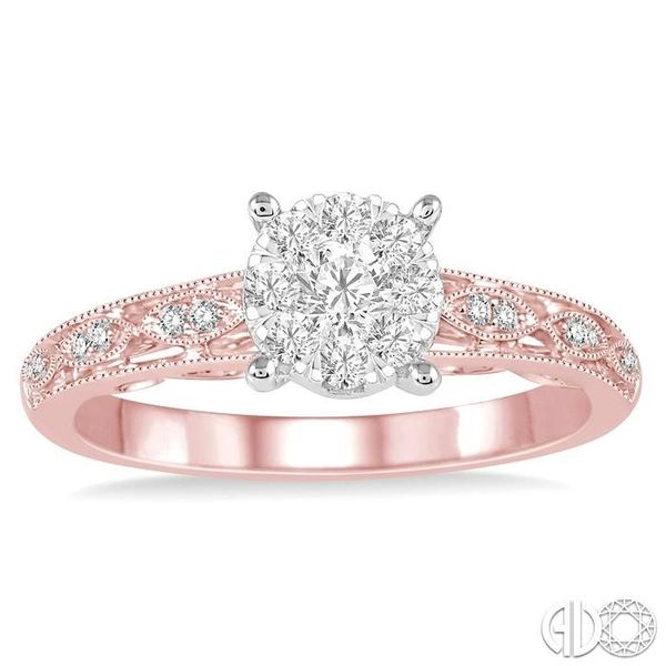 1/3 Ctw Round Cut Diamond Lovebright Engagement Ring in 14K Rose and White Gold Image 2 Becker's Jewelers Burlington, IA