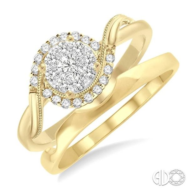 1/3 Ctw Diamond Lovebright Wedding Set with 1/3 Ctw Round Cut Engagement Ring and Shadow Band in 14K Yellow and White Gold Becker's Jewelers Burlington, IA