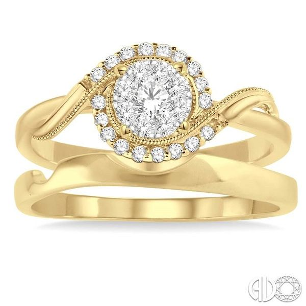 1/3 Ctw Diamond Lovebright Wedding Set with 1/3 Ctw Round Cut Engagement Ring and Shadow Band in 14K Yellow and White Gold Image 2 Becker's Jewelers Burlington, IA