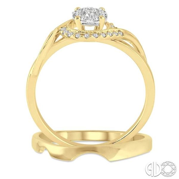 1/3 Ctw Diamond Lovebright Wedding Set with 1/3 Ctw Round Cut Engagement Ring and Shadow Band in 14K Yellow and White Gold Image 3 Becker's Jewelers Burlington, IA