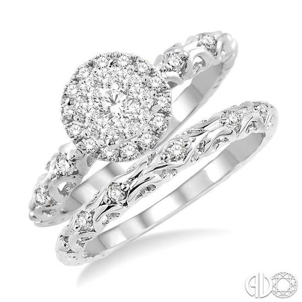 1/2 Ctw Diamond Lovebright Wedding Set with 3/8 Ctw Round Cut Engagement Ring and 1/20 Ctw Wedding Band in 14K White Gold Becker's Jewelers Burlington, IA