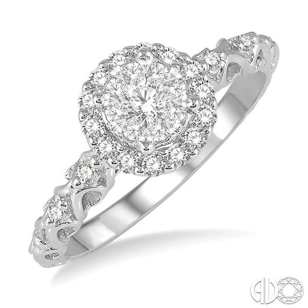 3/8 Ctw Round Cut Diamond Lovebright Engagement Ring in 14K White Gold Becker's Jewelers Burlington, IA