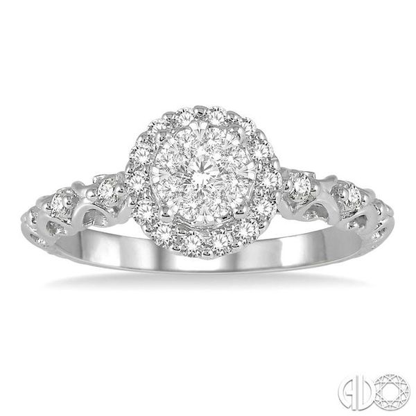 3/8 Ctw Round Cut Diamond Lovebright Engagement Ring in 14K White Gold Image 2 Becker's Jewelers Burlington, IA