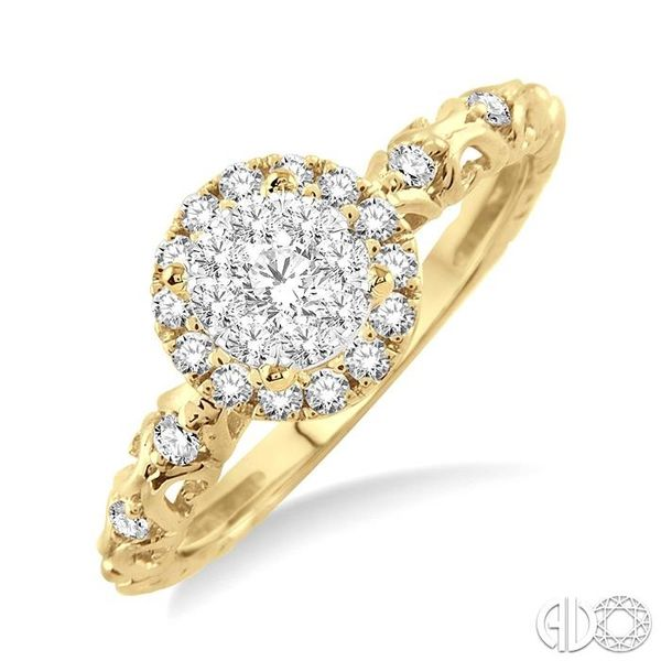 3/8 Ctw Round Cut Diamond Lovebright Engagement Ring in 14K Yellow and White Gold Becker's Jewelers Burlington, IA