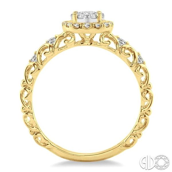 3/8 Ctw Round Cut Diamond Lovebright Engagement Ring in 14K Yellow and White Gold Image 3 Becker's Jewelers Burlington, IA