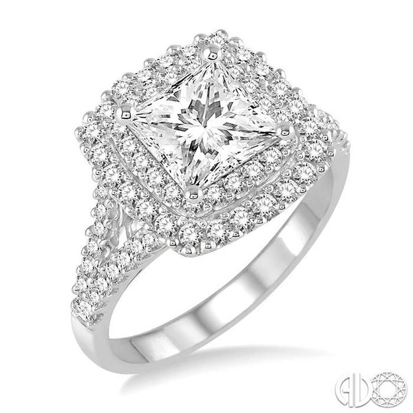 1 1/10 Ctw Diamond Engagement Ring with 1/2 Ct Princess Cut Center Stone in 14K White Gold Becker's Jewelers Burlington, IA