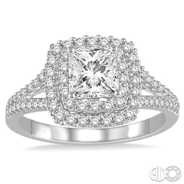 1 1/10 Ctw Diamond Engagement Ring with 1/2 Ct Princess Cut Center Stone in 14K White Gold Image 2 Becker's Jewelers Burlington, IA