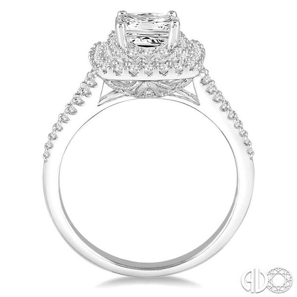 1 1/10 Ctw Diamond Engagement Ring with 1/2 Ct Princess Cut Center Stone in 14K White Gold Image 3 Becker's Jewelers Burlington, IA