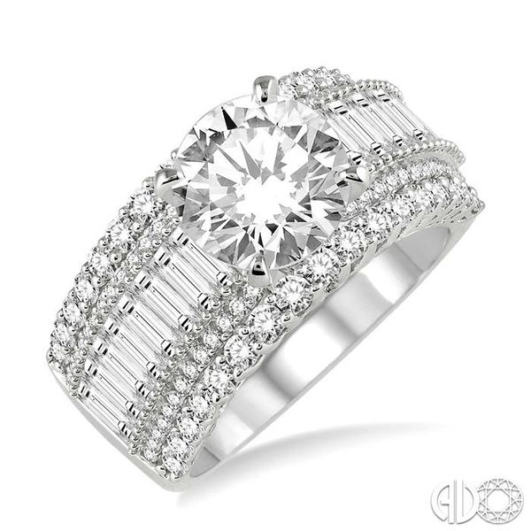 2 1/4 Ctw Diamond Semi-mount Engagement Ring in 14K White Gold Becker's Jewelers Burlington, IA