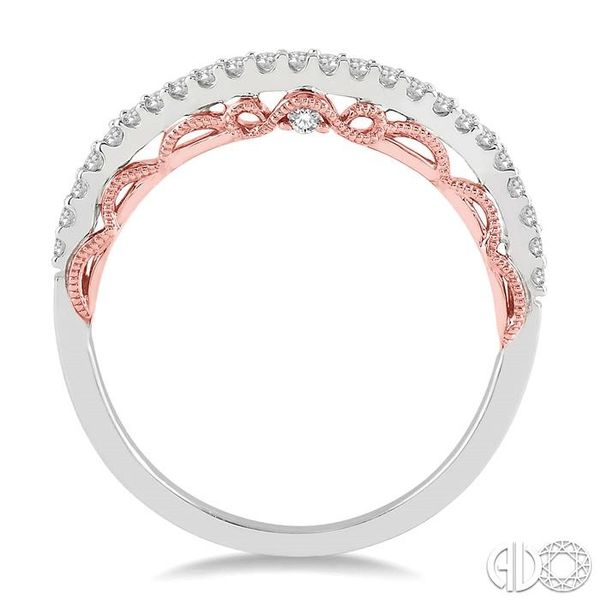 1/5 Ctw Round Cut Diamond Wedding Band in 14K White and Rose Gold Image 3 Becker's Jewelers Burlington, IA
