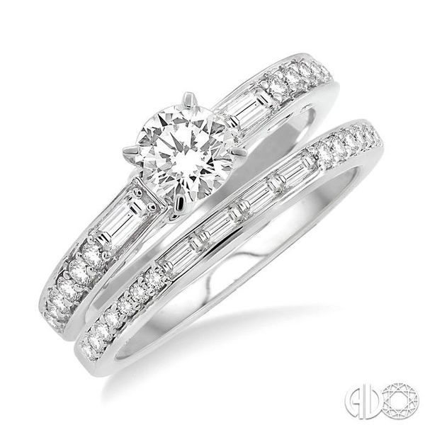 7/8 Ctw Diamond Wedding Set with 5/8 Ctw Round Cut Engagement Ring and 1/4 Ctw Wedding Band in 14K White Gold Becker's Jewelers Burlington, IA