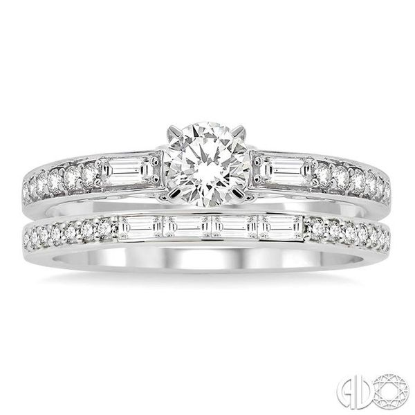 7/8 Ctw Diamond Wedding Set with 5/8 Ctw Round Cut Engagement Ring and 1/4 Ctw Wedding Band in 14K White Gold Image 2 Becker's Jewelers Burlington, IA