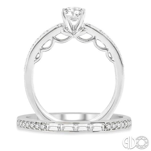 7/8 Ctw Diamond Wedding Set with 5/8 Ctw Round Cut Engagement Ring and 1/4 Ctw Wedding Band in 14K White Gold Image 3 Becker's Jewelers Burlington, IA