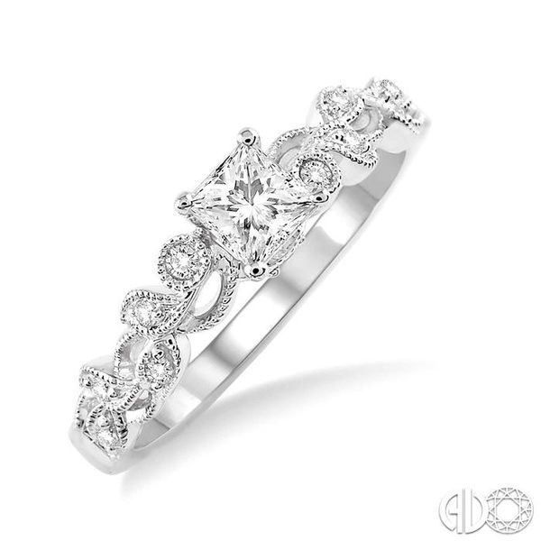 3/8 Ctw Diamond Engagement Ring with 1/3 Ct Princess Cut Center Stone in 14K White Gold Becker's Jewelers Burlington, IA